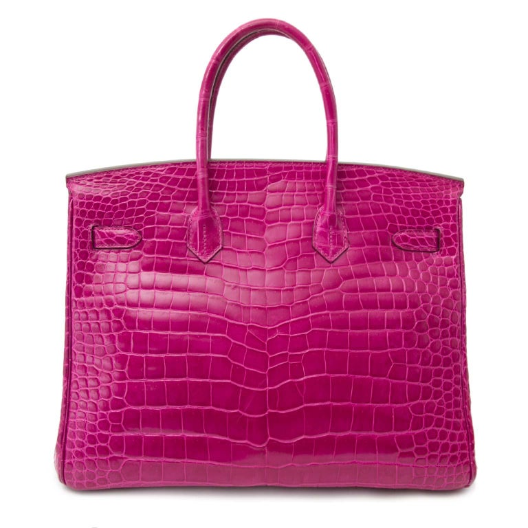 Women's or Men's Hermès Birkin 35 Rose Sheherazade Porosus GHW For Sale