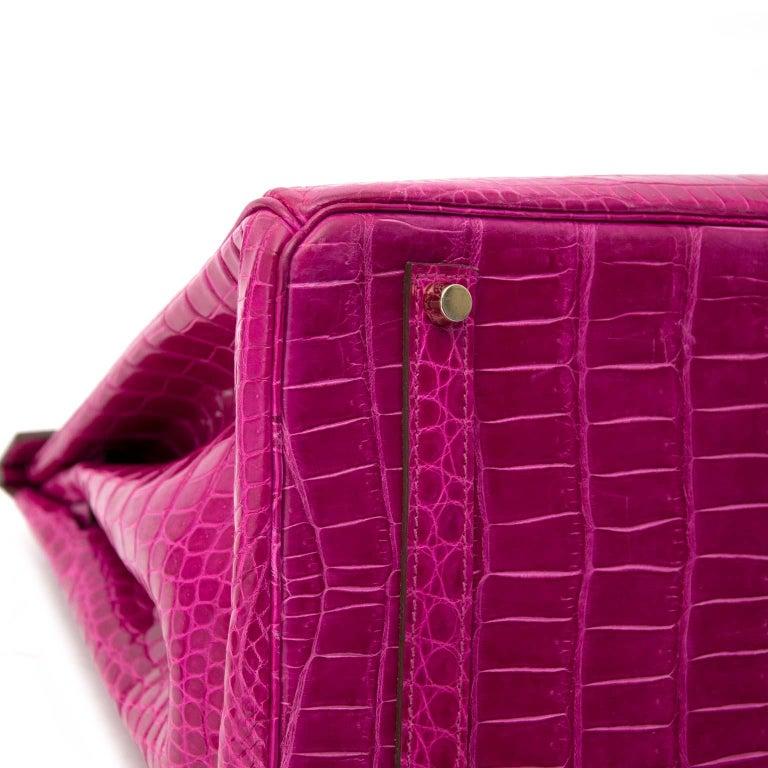 Hermès Birkin 35 Rose Sheherazade Porosus GHW 1