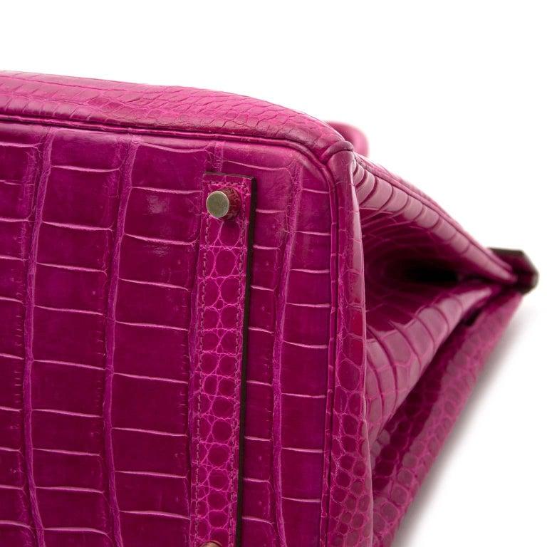 Hermès Birkin 35 Rose Sheherazade Porosus GHW 2