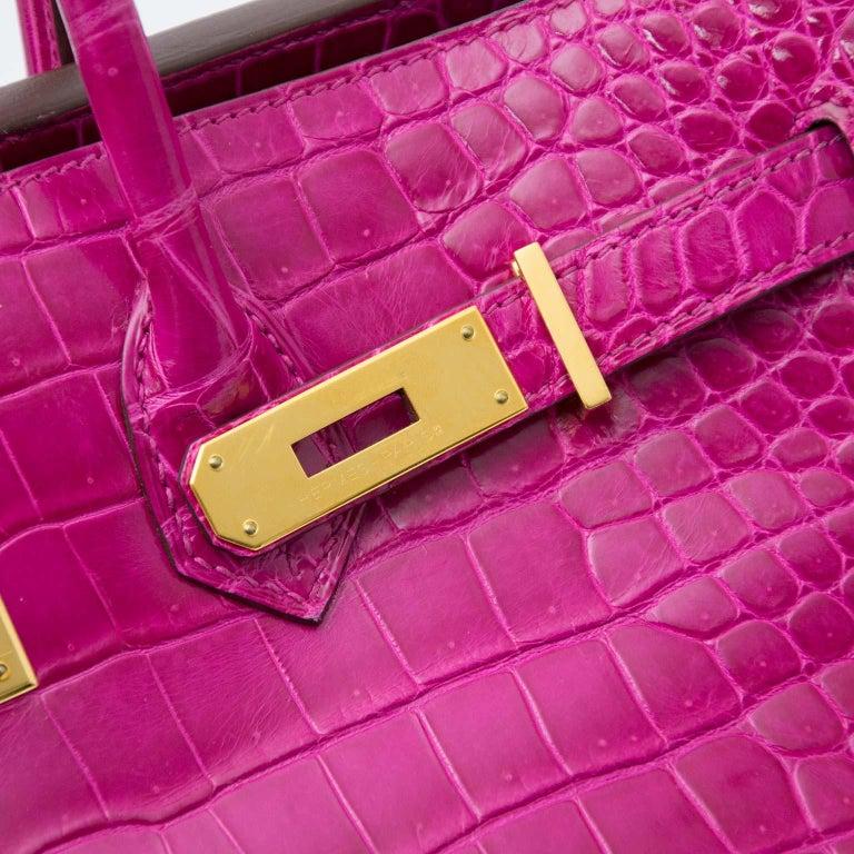Hermès Birkin 35 Rose Sheherazade Porosus GHW 3