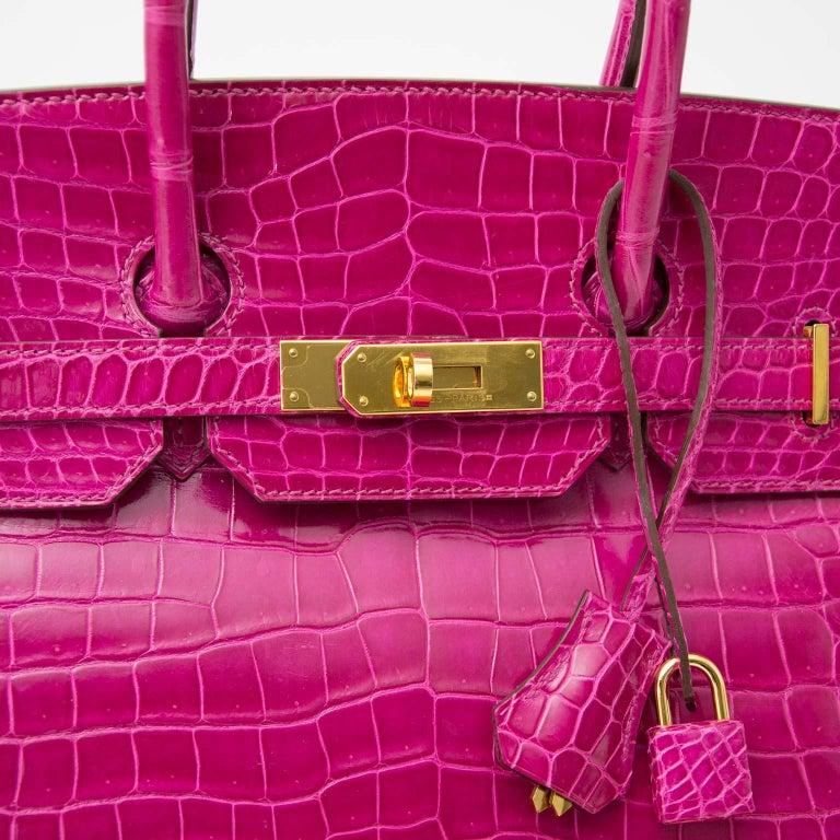 Hermès Birkin 35 Rose Sheherazade Porosus GHW 4