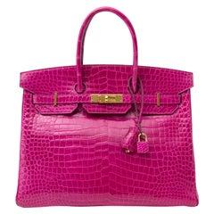 Hermès Birkin 35 Rose Sheherazade Porosus GHW