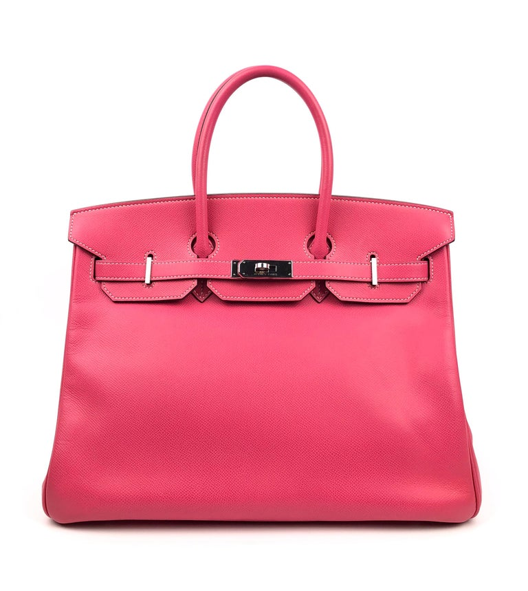 Hermes Birkin 35 Rose Tyrien Pink Candy Collection Rubis Interior Palladium Hardware. Excellent Condition, Some scratching on hardware.  Shop with Confidence from Lux Addicts. Authenticity Guaranteed!