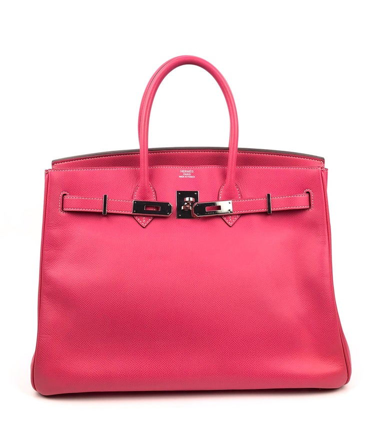 Hermes Birkin 35 Rose Tyrien Pink Candy Collection Rubis Palladium Hardware  In Good Condition For Sale In Lancaster, CA