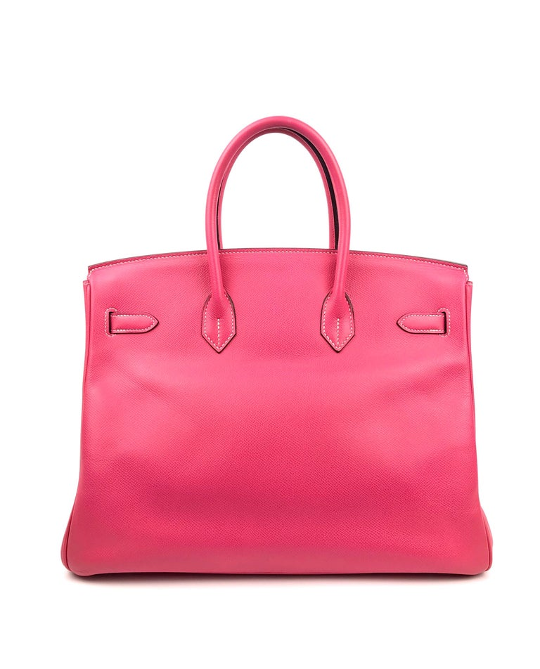 Women's or Men's Hermes Birkin 35 Rose Tyrien Pink Candy Collection Rubis Palladium Hardware  For Sale
