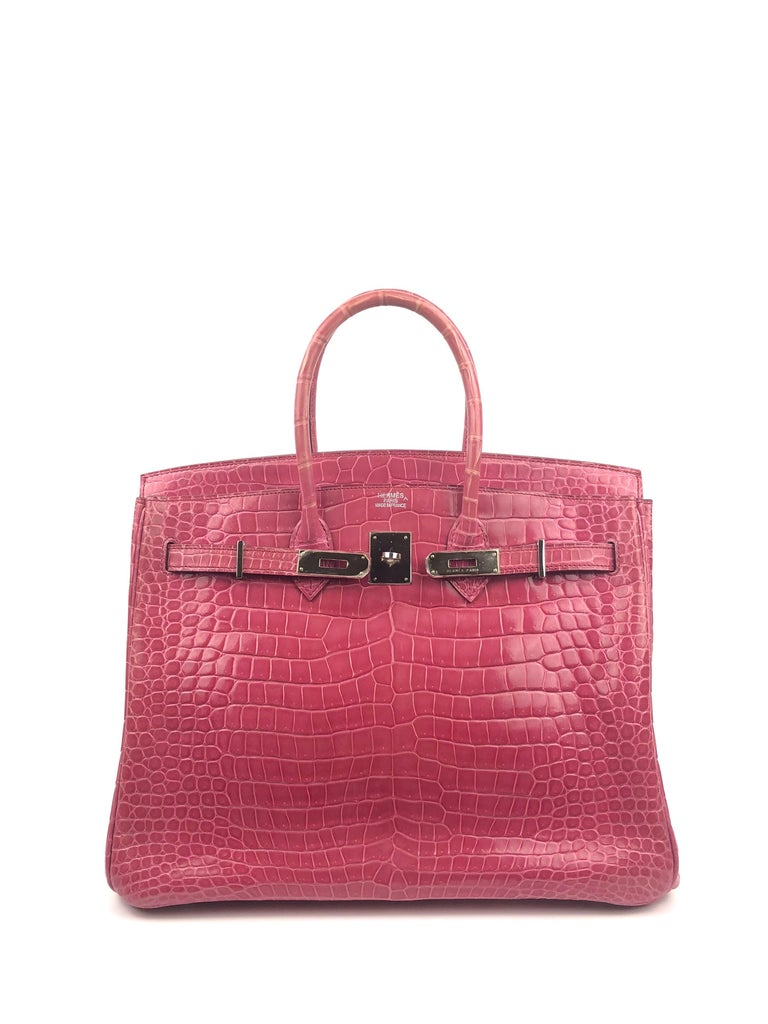 Hermes Birkin 35 Rose Tyrien Pink Crocodile  In Excellent Condition For Sale In Lancaster, CA
