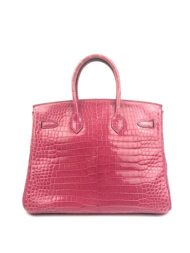 Women's or Men's Hermes Birkin 35 Rose Tyrien Pink Crocodile  For Sale