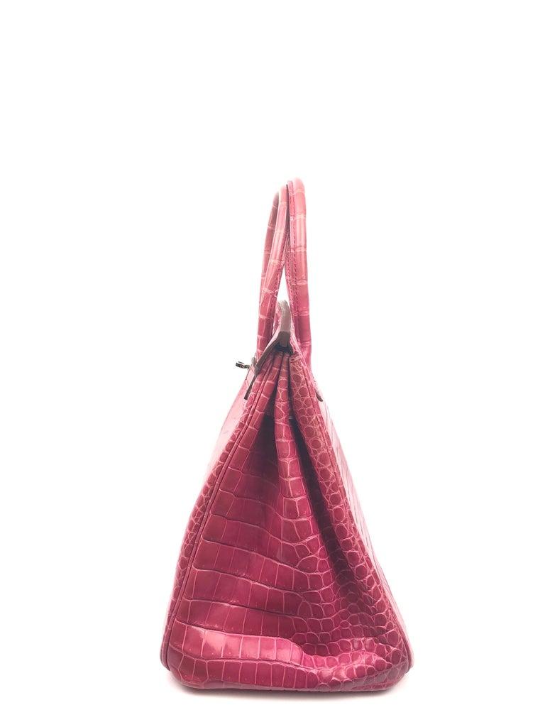 Hermes Birkin 35 Rose Tyrien Pink Crocodile  For Sale 2