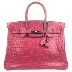 Hermes Birkin 35 Rose Tyrien Pink Crocodile