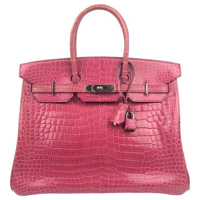 Hermes Birkin 35 Rose Tyrien Pink Crocodile  For Sale