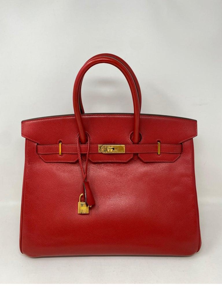 Hermes Birkin 35 Rouge Casaque Bag  For Sale 6