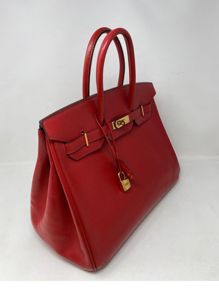 Hermes Birkin 35 Rouge Casaque Bag  For Sale 7