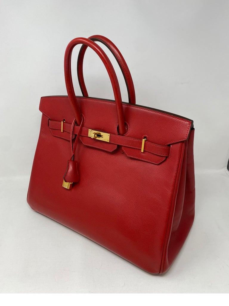 Hermes Birkin 35 Rouge Casaque Bag  For Sale 8