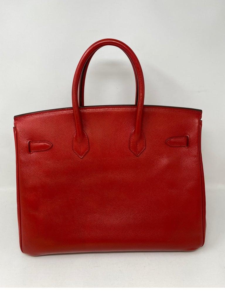 Hermes Birkin 35 Rouge Casaque Bag  For Sale 11