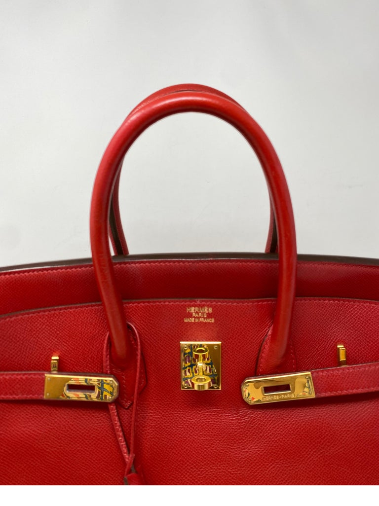 Hermes Birkin 35 Rouge Casaque Bag  For Sale 12