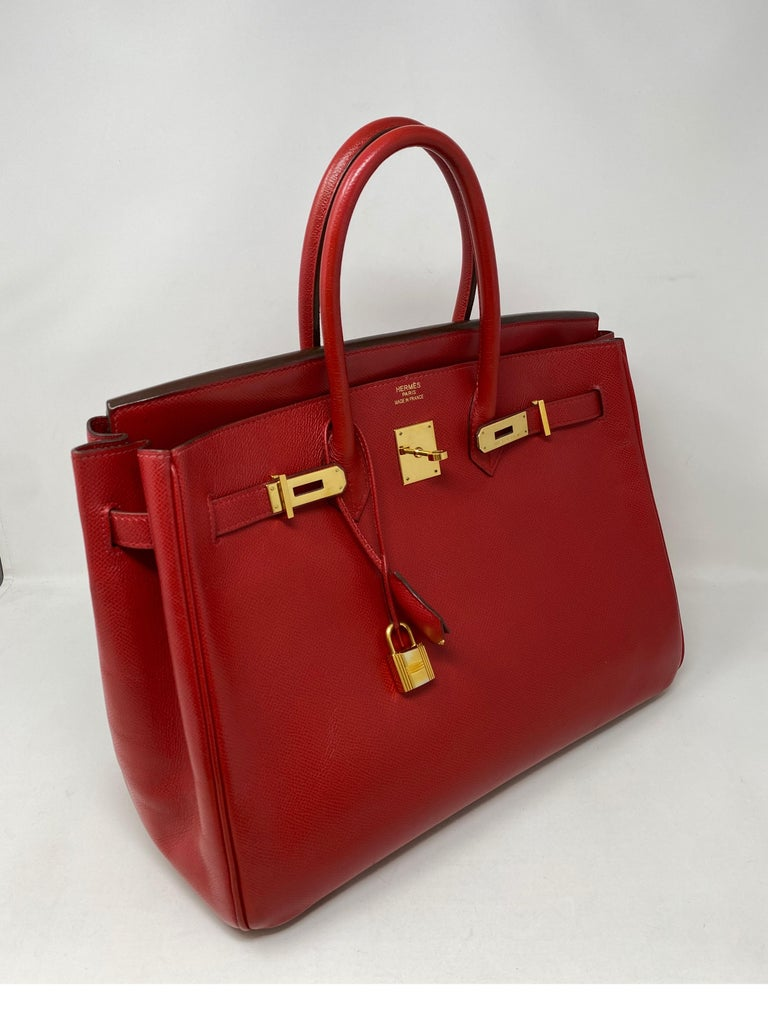 Hermes Birkin 35 Rouge Casaque Bag. Some light crease wear. Good condition overall. Gold hardware. Priced to sell. Beautiful red color bag. Guaranteed authentic.