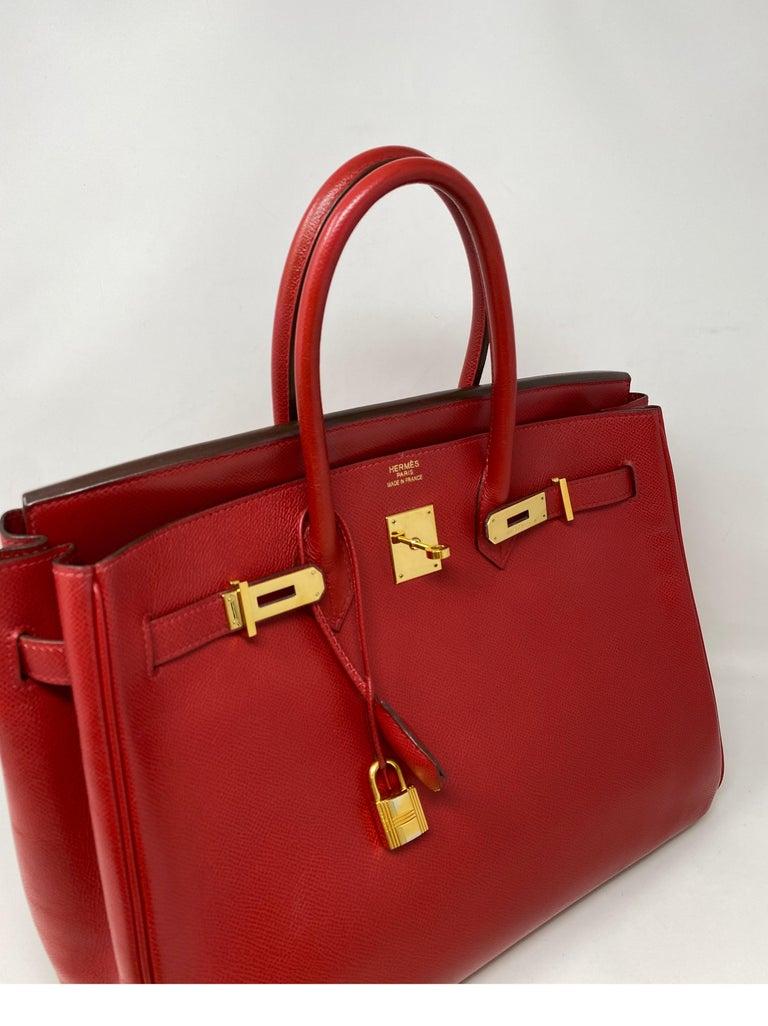 Red Hermes Birkin 35 Rouge Casaque Bag  For Sale