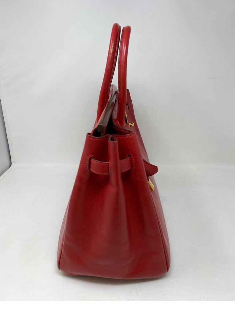 Hermes Birkin 35 Rouge Casaque Bag  In Good Condition For Sale In Athens, GA