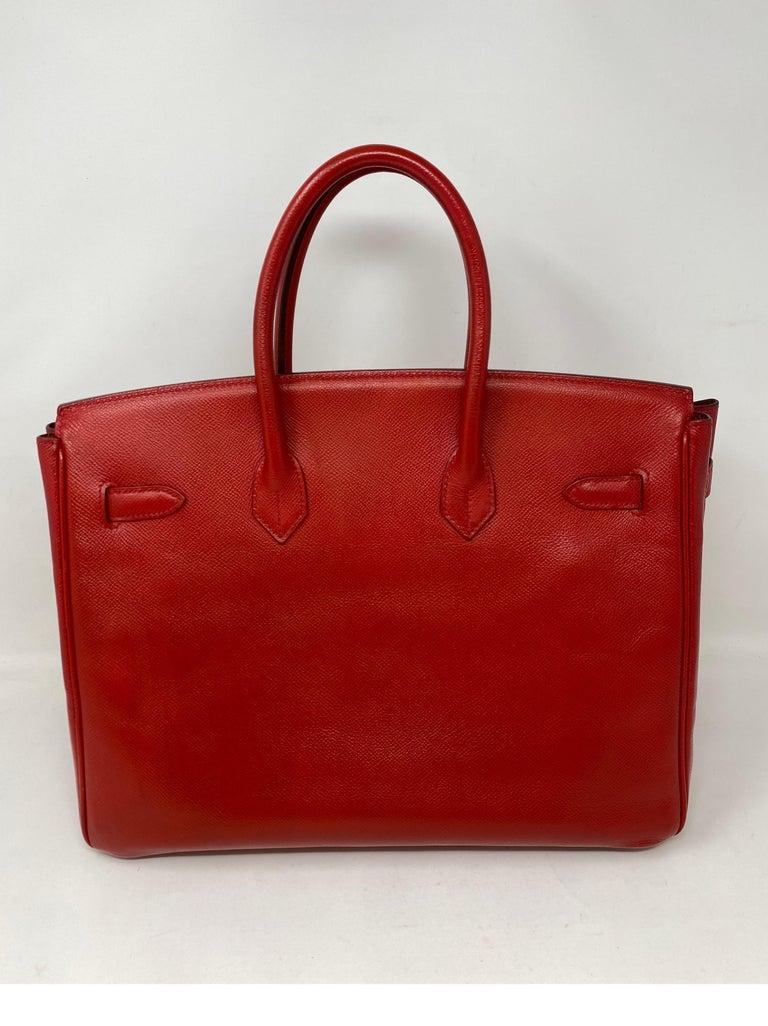 Women's or Men's Hermes Birkin 35 Rouge Casaque Bag  For Sale