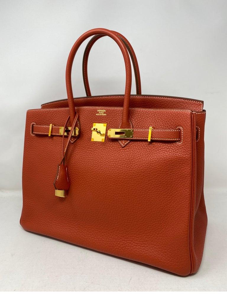 Red Hermes Birkin 35 Sanguine Bag For Sale