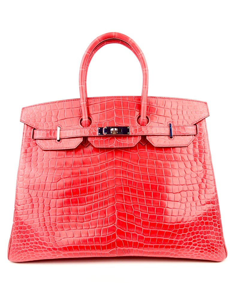 Stunning 2016 X Stamp Hermes Birkin 35 Bougainvillea Red Pink Crocodile Palladium Hardware. Excellent Pristine condition, light hairlines on hardware, excellent corners and structure.   Shop with Confidence from Lux Addicts. Authenticity Guaranteed!