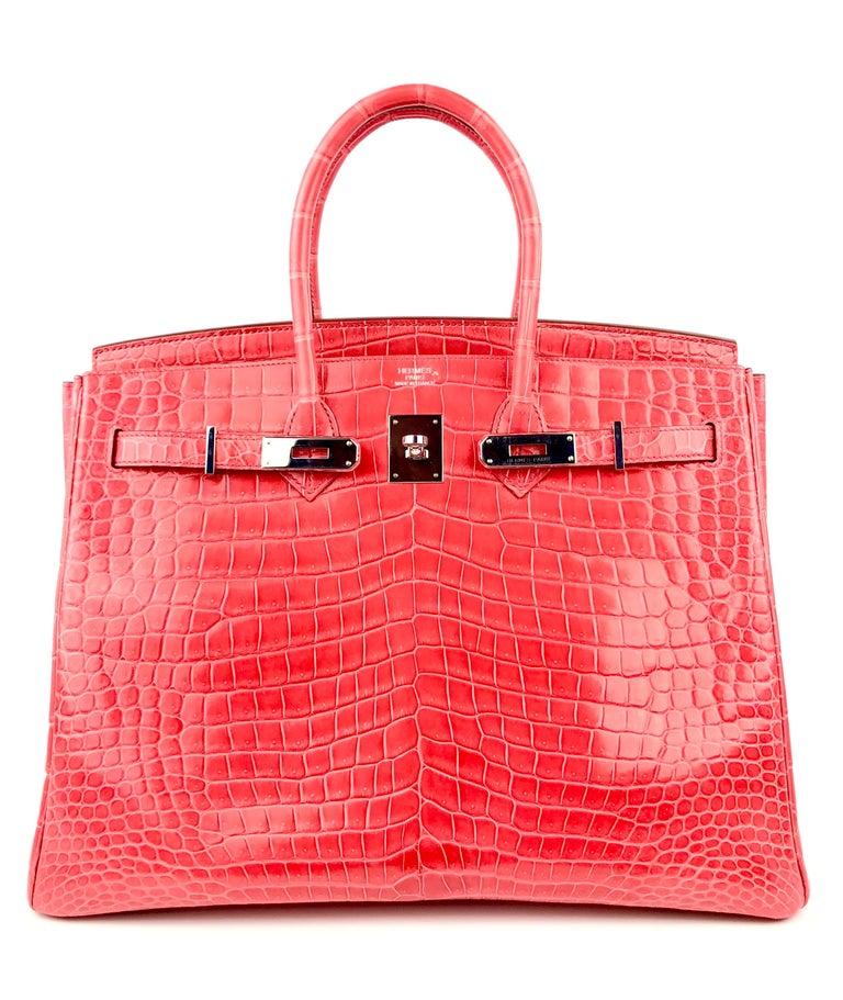 Hermes Birkin 35 Shinny Crocodile Bougainvillea Red Pink Palladium Hardware 2016 In Excellent Condition For Sale In Miami, FL