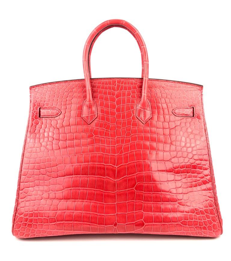 Women's or Men's Hermes Birkin 35 Shinny Crocodile Bougainvillea Red Pink Palladium Hardware 2016 For Sale