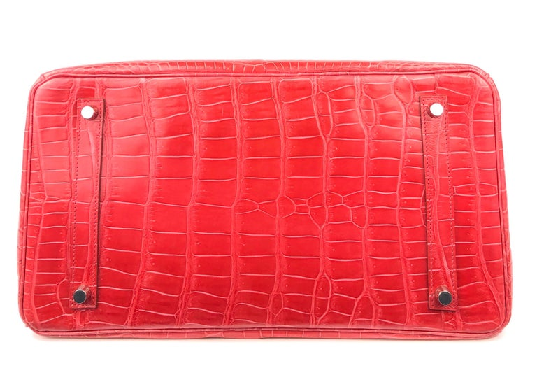 Hermes Birkin 35 Shinny Crocodile Bougainvillea Red Pink Palladium Hardware 2016 For Sale 2