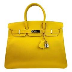 Hermes Birkin 35 Soleil Yellow Epsom Leather Palladium Hardware