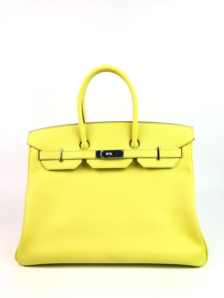 HERMES BIRKIN 35 SOUFRE YELLOW EPSOM PALLADIUM HARDWARE. Excellent condition with Plastic on Hardware, perfect corners and Excellent structure.   Shop with Confidence from Lux Addicts. Authenticity Guaranteed!