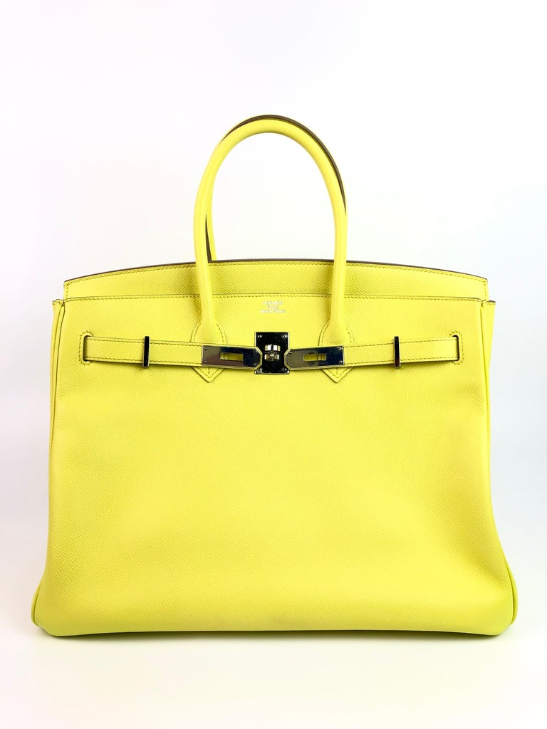 Hermes Birkin 35 Soufre Yellow Epsom Palladium Hardware  In Excellent Condition In Miami, FL