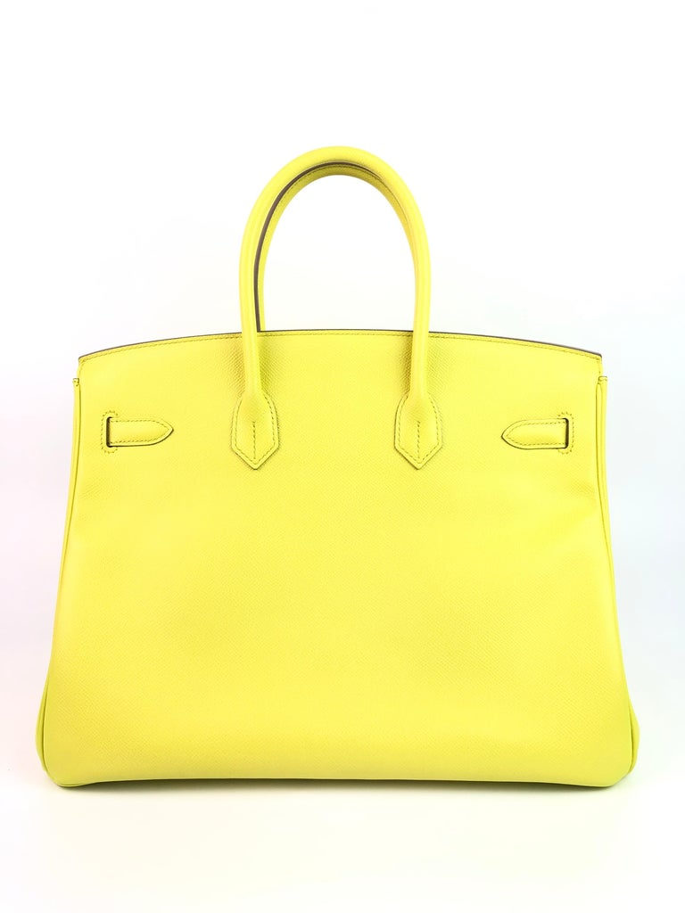 Women's or Men's Hermes Birkin 35 Soufre Yellow Epsom Palladium Hardware