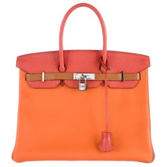 Hermes NEW Birkin 35 Special Multi Color Top Handle Satchel Tote Bag in Box