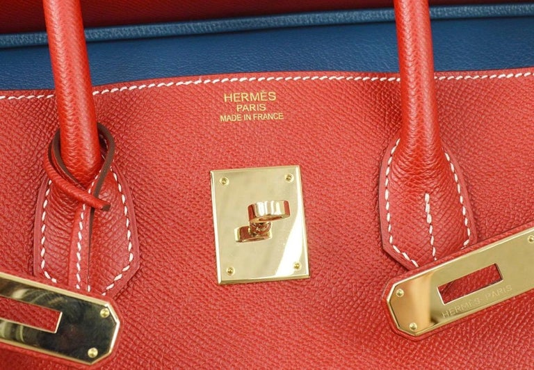 Women's Hermes Birkin 35 Special Order Red Blue Leather Gold Top Handle Tote Bag For Sale