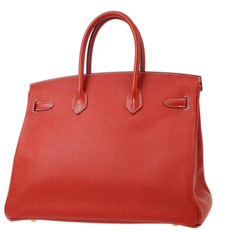 Hermes Birkin 35 Special Order Red Blue Leather Gold Top Handle Tote Bag For Sale 1