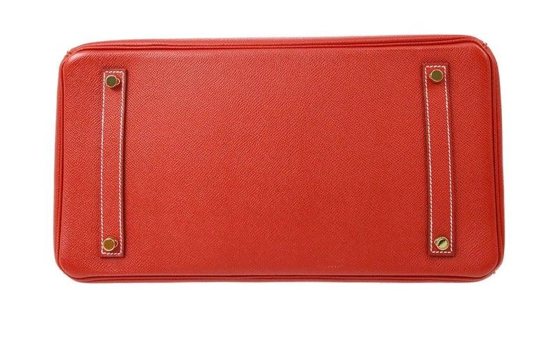 Hermes Birkin 35 Special Order Red Blue Leather Gold Top Handle Tote Bag For Sale 2