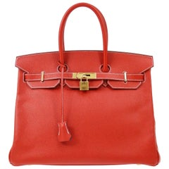 Hermes Birkin 35 Special Order Red Blue Leather Gold Top Handle Tote Bag