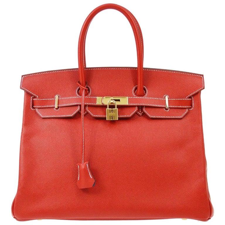 Hermes Birkin 35 Special Order Red Blue Leather Gold Top Handle Tote Bag For Sale