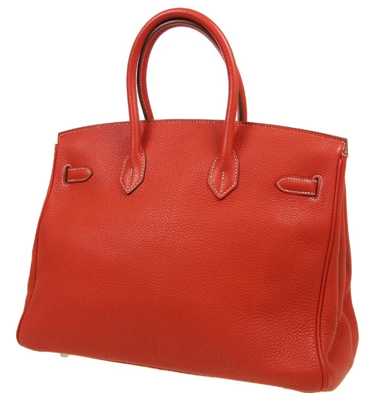 Hermes Birkin 35 Special Order Red White Leather Palladium Top Handle Tote Bag In Good Condition For Sale In Chicago, IL