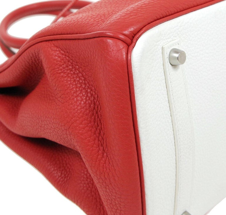 Hermes Birkin 35 Special Order Red White Leather Palladium Top Handle Tote Bag For Sale 1