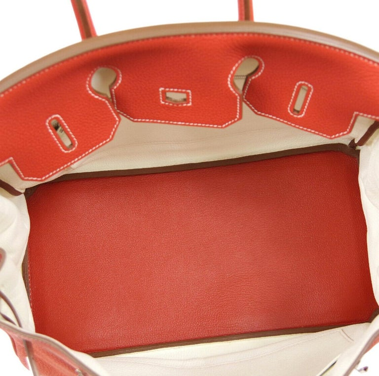 Hermes Birkin 35 Special Order Red White Leather Palladium Top Handle Tote Bag For Sale 2