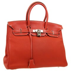 Hermes Birkin 35 Special Order Red White Leather Palladium Top Handle Tote Bag