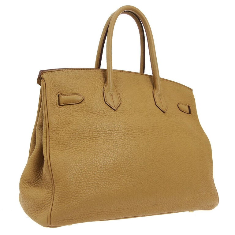 Hermes Birkin 35 Tan Cognac Leather Top Handle Satchel Travel Tote Bag In Good Condition In Chicago, IL