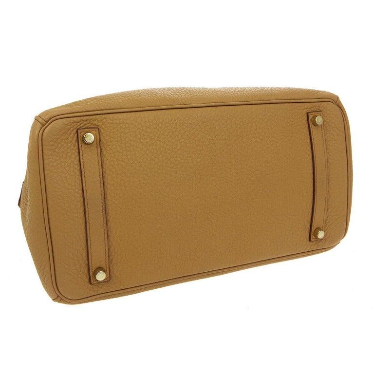 Women's Hermes Birkin 35 Tan Cognac Leather Top Handle Satchel Travel Tote Bag