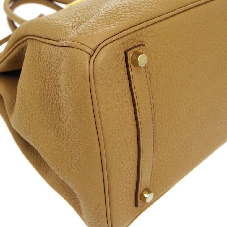 Hermes Birkin 35 Tan Cognac Leather Top Handle Satchel Travel Tote Bag 1