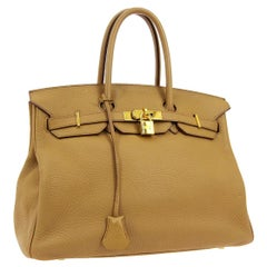 Hermes Birkin 35 Tan Cognac Leather Top Handle Satchel Travel Tote Bag