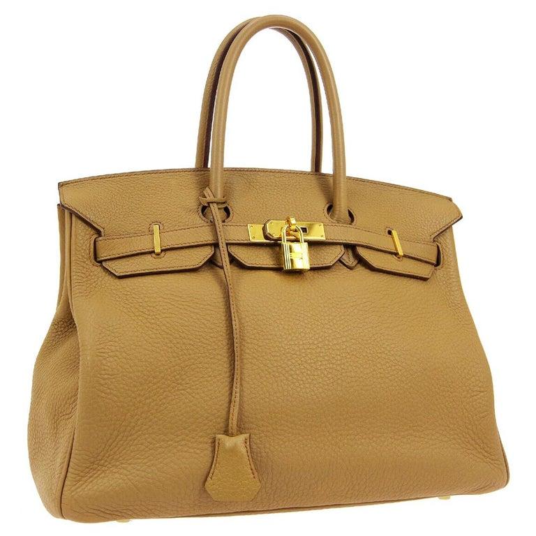 Hermes Birkin 35 Tan Cognac Leather Top Handle Satchel Travel Tote Bag