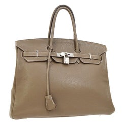 Hermes Birkin 35 Taupe Leather Silver Travel Carryall Top Handle Satchel Tote