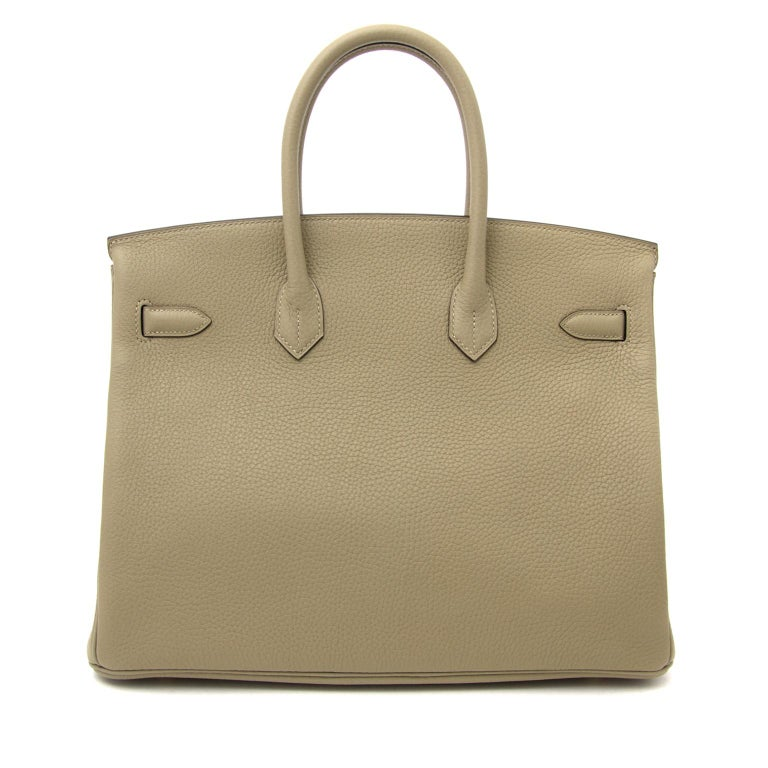 BRAND NEW, STORE FRESH  Hermès Birkin 35 Taurillon Clemense Sauge GHW  This brand new Hermès Birkin in Taurillon Clemence leather comes in a sauge green color.  This type of leather has a slightly bigger grain then other available leather like Togo.