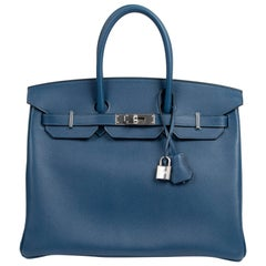 Hermès Birkin 35 Taurillon Novillo Deep Blue PHW